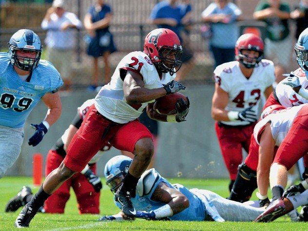At Rhode Island, junior powerhouse Charlie Booker III rumbled for gains of 50 and 57 yards en route to a game- and career-high 139.