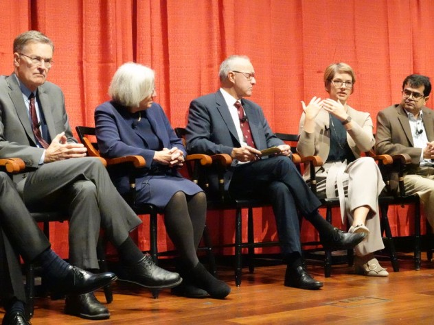 "Bruce Walker, Dyann Wirth, moderator George Q. Daley, Angela DePace, and Samir Mitragotri at a symposium titled ""Life Sciences Innovation and the Future of Medicine."""
