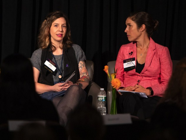 Recovery coach Raina McMahan (left) talks with addiction-medicine physician Sarah Wakeman about her stigmatizing experiences with health care and drug use.