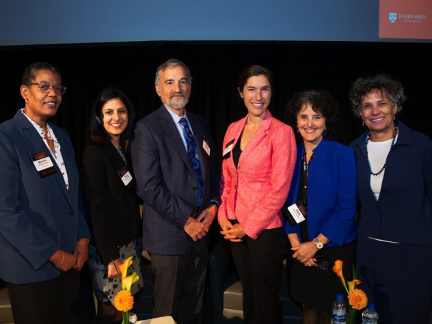 A group photo of six participants in the joint Harvard-University of Michigan summit on opioids