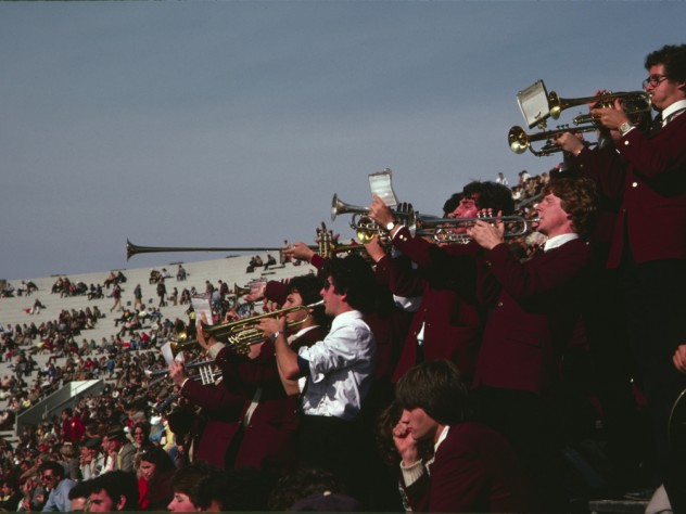 The trumpet section leads a cheer