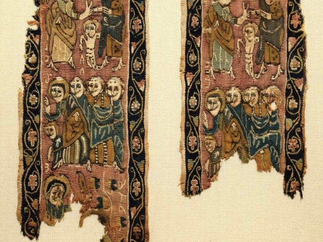Colorful woven vertical bands from a funerary tunic depict multiple figures.