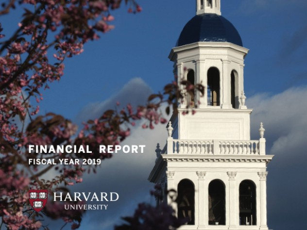 Cover of Harvard University 2019 annual financial report