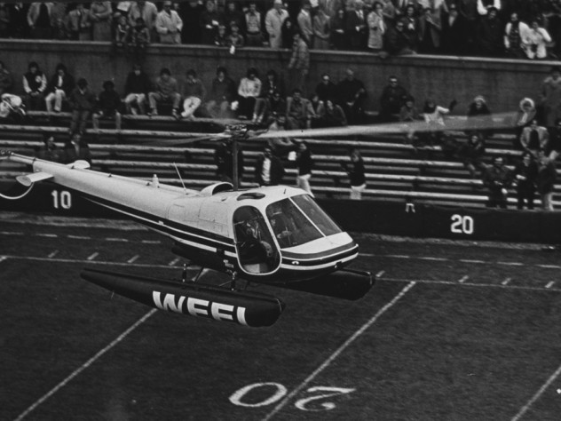 The band arranged for a helicopter to land on the 50-year line in 1976.