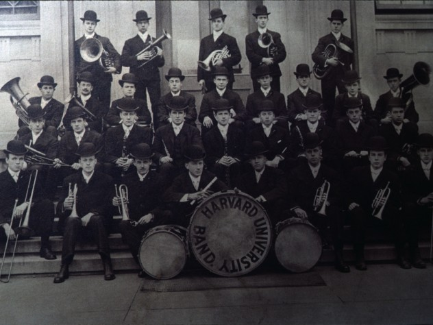 An early group photo of Band members wearing bowler hats