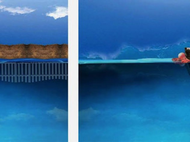 """The computer montage diptych """"Home's Horizons,{ by Fatimah Tuggar features oceans and abodes"""