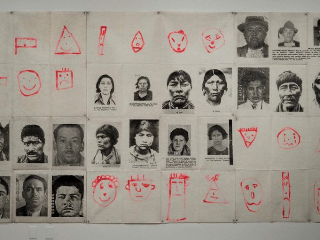 A grid comprised of 48 portraits, including black-and-white photographs of South American indigenous people and criminal mugshots, and simple, childlike drawings of human faces in bright red