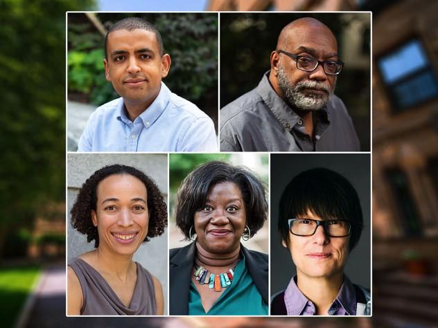Headshot photos of Isaiah Andrews, Fred Moten, Mary L. Gray, Tressie McMillan Cottom, and Monika Schleier-Smith