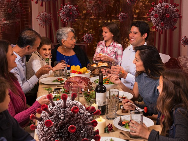 A family celebrates Thanksgiving as coronavirus circulates unseen in the air around them.
