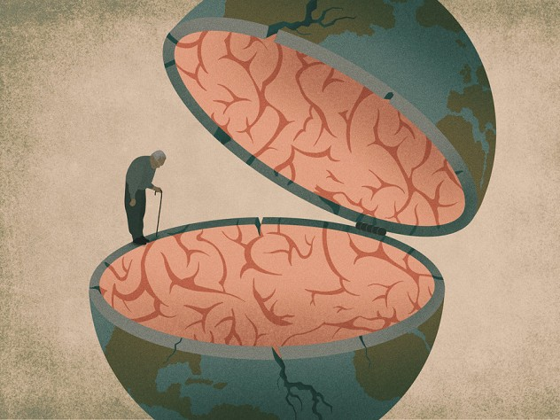 Abstract illustration of an elderly man balanced on the edge of a half globe filled with brain gray matter