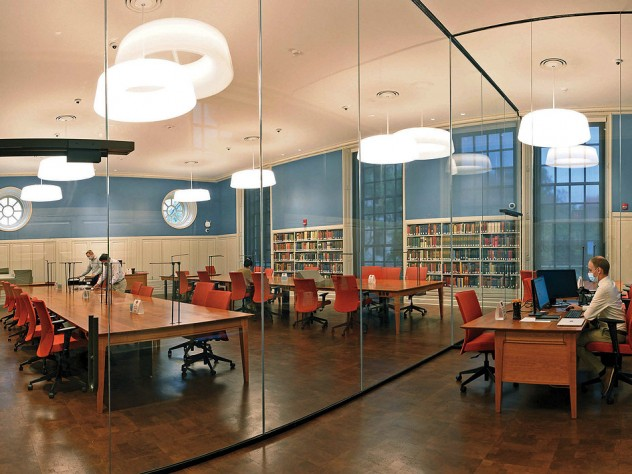 Photograph of Houghton Library's renovated reading room