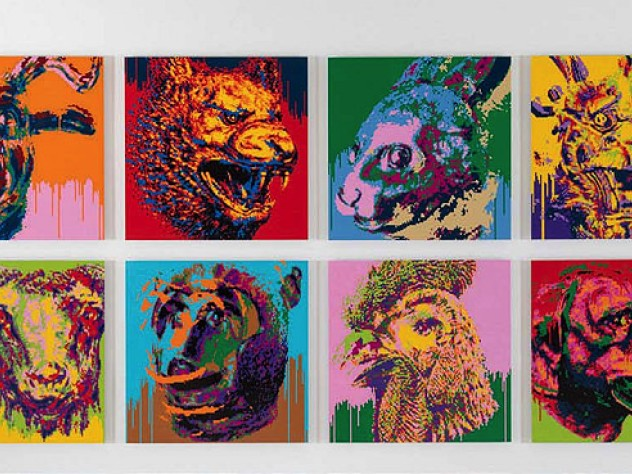 Series of Zodiac animal heads created out of Lego bricks by artist Ai Weiwei
