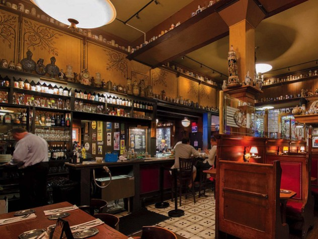 The stein-laden mahogany back bar, and original 1935 booths at the landmark restaurant The Student Prince