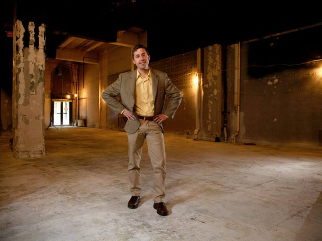 Glen Whitney '89 stands in an as-yet-unfinished space at the MoMath museum, slated for a 2012 opening.