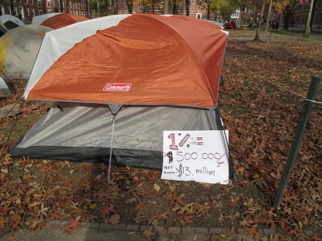 Many protesters attended classes today, but left signs outside of their tents.