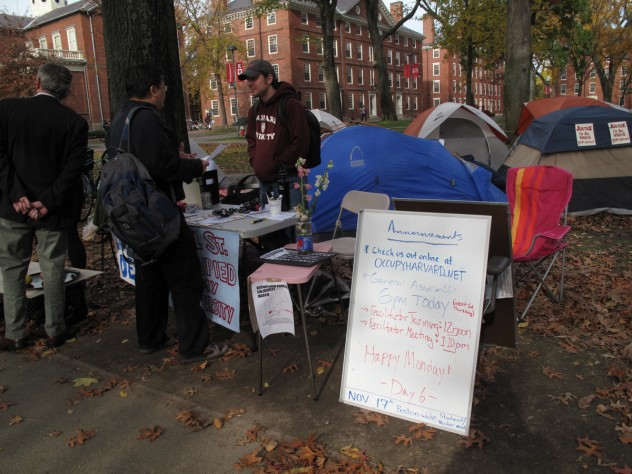 A handful of protesters talked to community members and handed out information on Occupy Harvard.