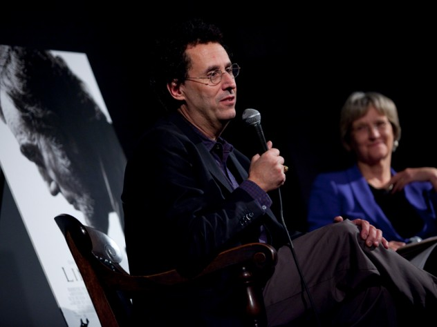 Tony Kushner speaks to Harvard students, faculty, and staff at the Brattle Theatre after a private screening of <i>Lincoln.</i>