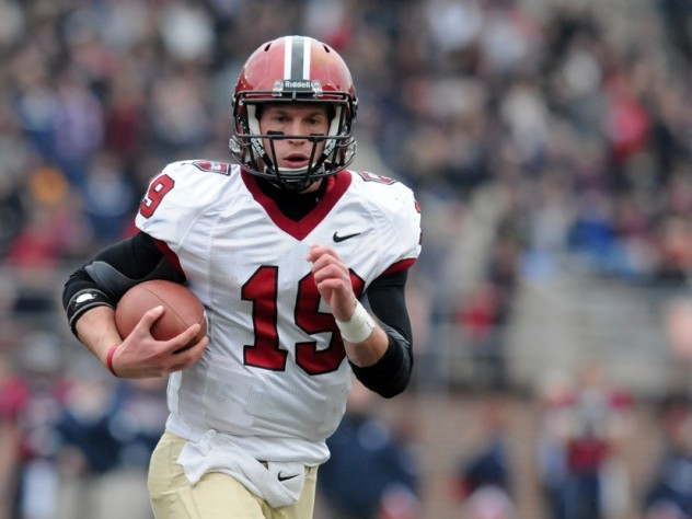 Crimson quarterback Colton Chapple completed 17 of 24 passes for 174 yards, but was sacked six times by the hard-charging Penn defense.