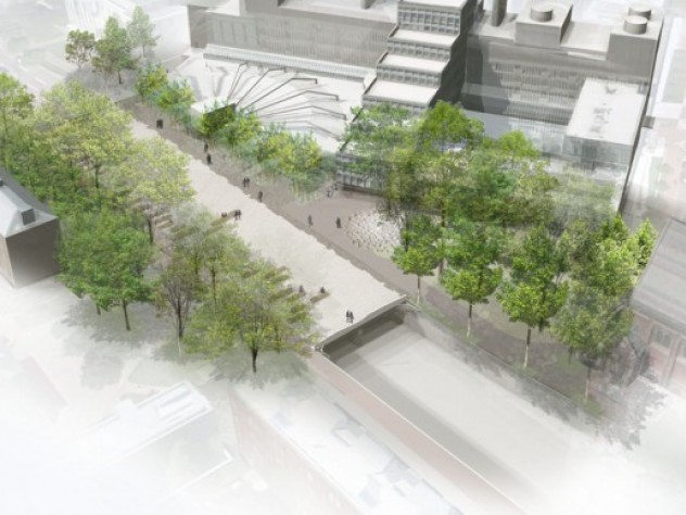 1. An aerial rendering of the new plaza atop the Cambridge Street tunnel, looking north toward the Science Center