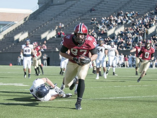 Tight end Cam Brate caught a 15-yard pass from quarterback Conner Hempel for Harvard's first touchdown against Penn. A leg injury had kept Brate out of the team's last two games.