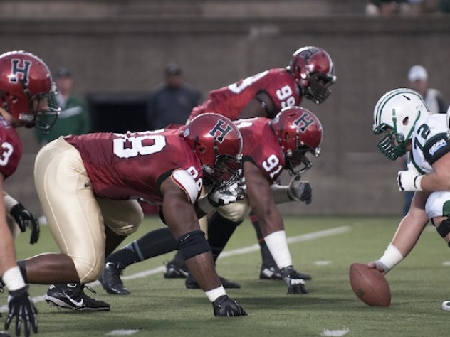 The brothers Obukwelu, Nnamdi (88) and Obum (91), helped bulwark the Crimson's defensive line. Obum had a team-leading eight tackles and a quarterback hurry in the Dartmouth game, while Nnamdi made five tackles. Linebacker Eric Medes (43) was credited with six tackles, while end Zach Hodges (99) had five tackles and four quarterback hurries.