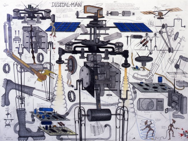 Abu Bakarr Mansaray draws Da Vinci-style diagrams of war machines, bringing together horror and cartoon comedy. This one, entitled <i>Digital Man</i>, features an alien gunfight in its lower right corner. Several of Mansaray's wire sculptures also appear at the Cooper Gallery.