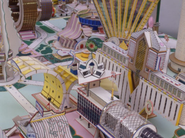 This model city by Bodys Isek Kingelez anchors <i>Luminós/C/ity.Ordinary Joy: From the Pigozzi Contemporary African Art Collection</i>.