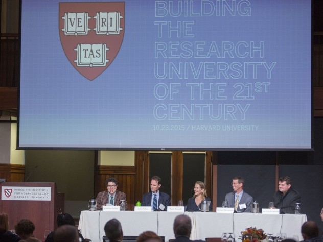 """Moderated by Harvard Law School's Jonathan L. Zittrain (left), planners and designers discussed the """"digital campus."""" In the twenty-first century, said John Palfrey '94, J.D. '11 (second from left), head of school at Phillips Academy, Andover, """"the green fields we build on will be in cyberspace."""""""