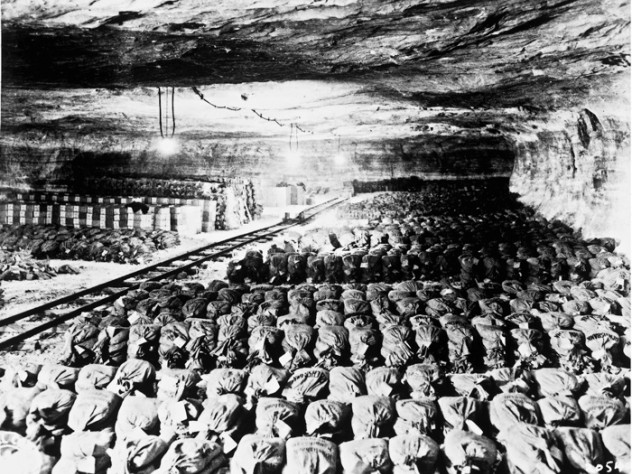 Besides works of art, the Merkers mine complex held most of the Third Reich's gold reserves (roughly $5 billion in today's dollars) and paper currency.