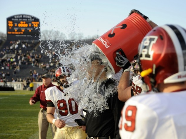 Coach Murphy got a Powerade shower as time expired.