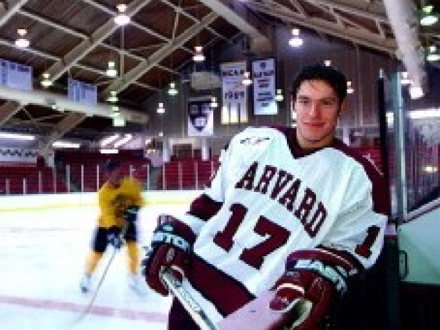 Dominic Moore, Harvard's leading scorer last year, takes a breather at Bright Hockey Center.