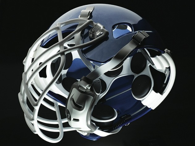 These views (above and below) of the Xenith football helmet show the disc-shaped shock absorbers that adapt to the magnitude and direction of the hit, adjusting the helmet's compression accordingly.