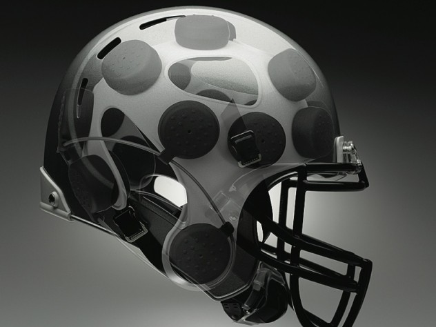 The disc-shaped shock absorbers in the Xenith helmet adapt to the magnitude and direction of the hit.