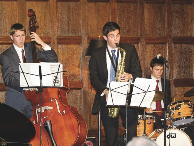 Students perform at the 2010 Harvard Club Jazz Festival (from left, Greg Johnston '13, Alex Rezzo '10, and Carl Pillott '12)