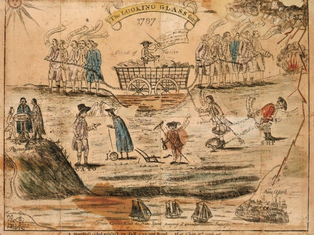 "Amos Doolittle cheekily depicted the passions over ratification in this 1787 engraving with watercolor, with ""Federals"" (business interests), left, and agrarian ""Antifederals,"" right, differing over currency and Connecticut's debts: a mired wagon being pulled in opposite directions."