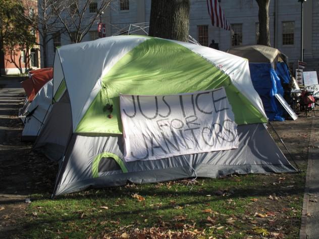 An Occupy Harvard tent on December 1, 2011