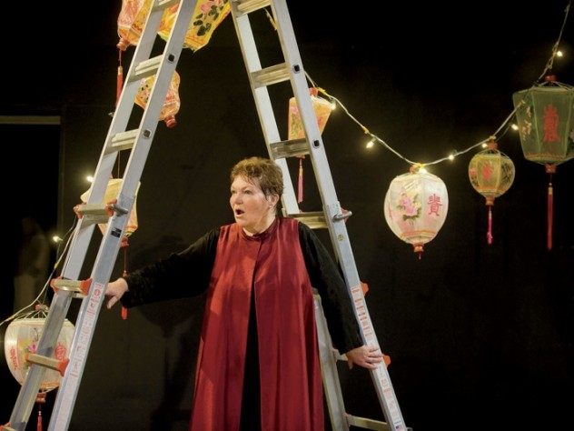 Tina Packer in <i>Women of Will,</i> her performance piece showcasing Shakespearean female characters, at Shakespeare & Company, in Lenox, Massachusetts