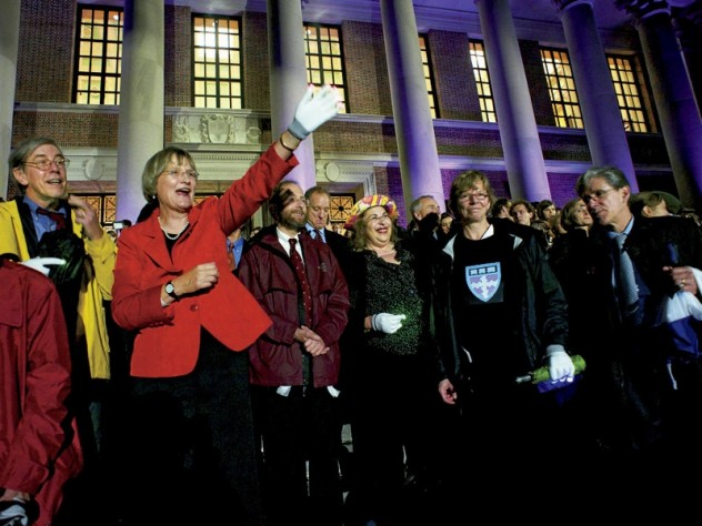 President Faust, deans, and members of the governing boards stood on the Widener steps to watch the procession of students parade by, each residential House or graduate school with its own theme.
