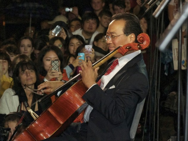 "Yo-Yo Ma performed the Prelude from Bach's Cello Suite No. 1 before joining President Faust in leading a rendition of ""Happy Birthday."""