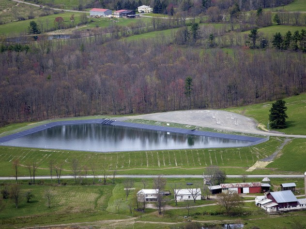 A wastewater holding pond for a fracking well in rural Pennsylvania—a state where several thousand wells have been drilled to extract natural gas from shale