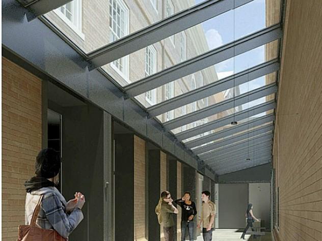 """rendering of the """"light court"""" beside Leverett House'sdining hall"""