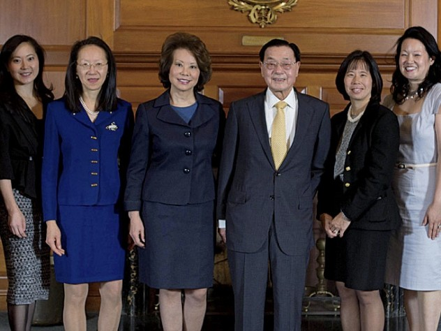 Celebrating a landmark HBS gift: Dean Nitin Nohria with Angela Chao; May Chao; Elaine L. Chao; Dr. James Si-Cheng Chao; Christine Chao; Grace Chao; and President Drew Faust