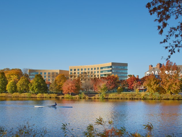 Tata Hall, as seen from the Charles River