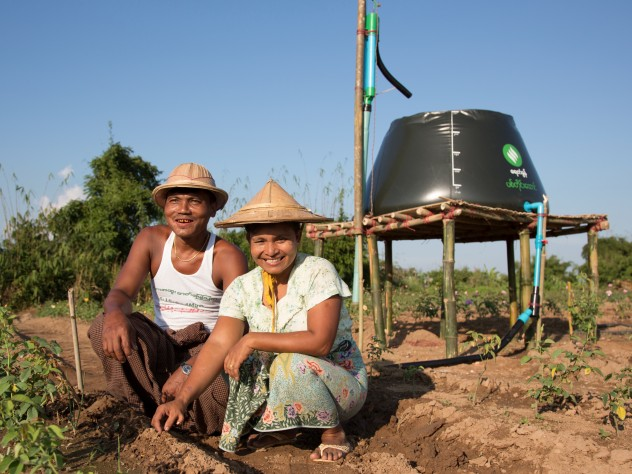 using a treadle pump, farmers can collect and move water and then distribute it by hose or drip irrigation lines—huge improvements in time and labor compared to bearing buckets of water on their shoulders with a wooden yoke.