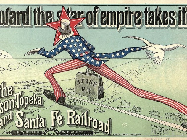 An advertisement for the Atchison, Topeka and Santa Fe Railroad
