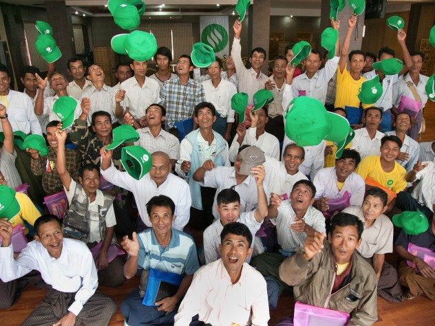 Rural agents come to Yangon for product and sales training during the monsoon season. For some of the agents, shown here at the 2013 training session, the visit to Yangon is their first immersion in city life.