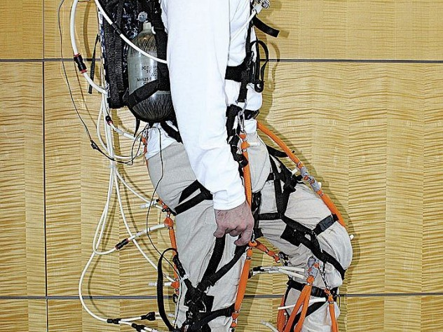 """Conor Walsh's lab is designing a robotic """"exosuit"""" to aid human movement; soft and lightweight, it can be worn under clothes."""