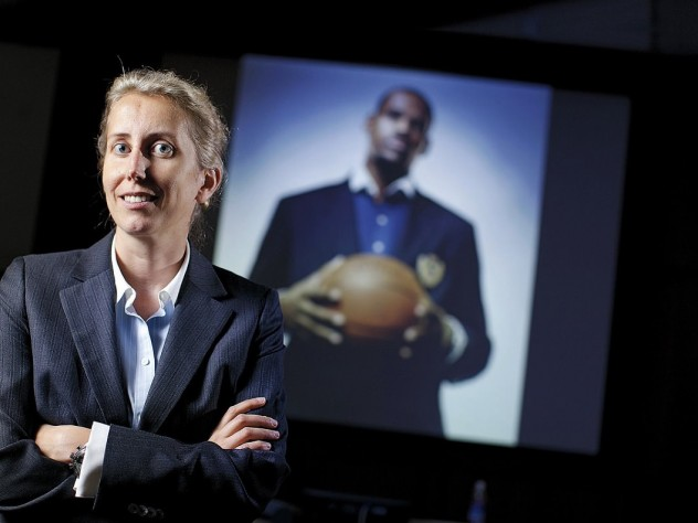 Anita Elberse, backed by a picture of basketball superstar LeBron James, an important figure in her book <i>Blockbusters</i>