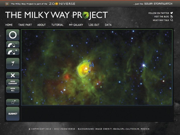 "As part of the Milky Way Project, hosted by citizen-science platform Zooniverse, participants draw ellipses to identify interstellar ""bubbles"" in telescope images; the regions are thought to promote star formation."
