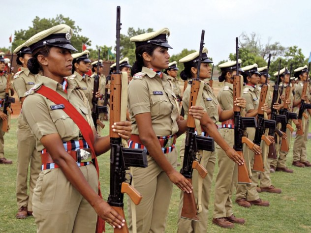 Women police officers, Gujarat Police Academy, June 2014; the chief minister announced a 33 percent reservation for women in the state police force.
